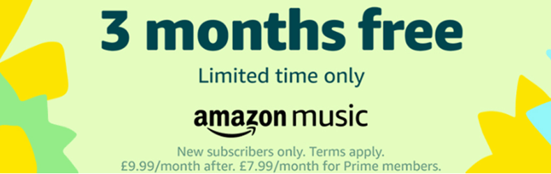 Amazon 3 Months FREE Music Slider