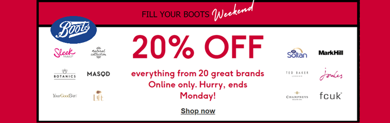 Boots 20% off brands