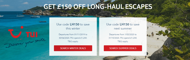 TUI £150 Off Long-Haul Slider