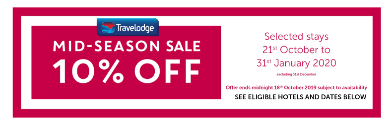 Travelodge 10% Off Mid-Sale Slider