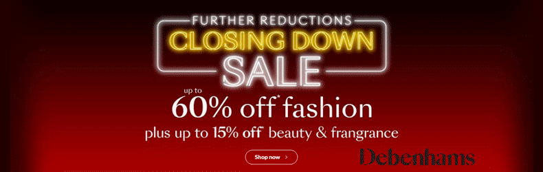 Debenhams Christmas Closing Down Slider