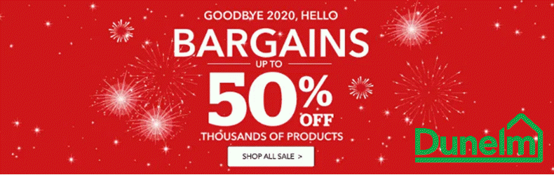 Dunelm Christmas 2020 50% off sale