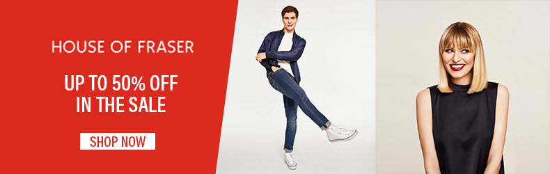 up to fifty percent off in the house of fraser sale