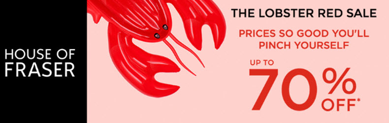up to 70% off in the house of fraser lobster sale