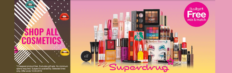 Superdrug 3 for 2 cosmetics Slider